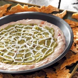 nachos de telaraña con murcielago